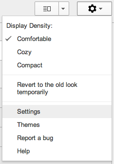 Gmail Options Menu