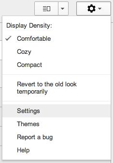 Gmail Options Menu